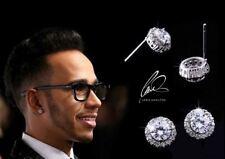 Lewis Hamilton Genuine 18K Platinum Plate Diamond Gemstone Earrings