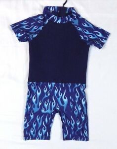 Sunsuit UV Protective Child Swim Wear with Blue Flame Graphic Size 6