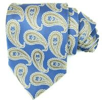 Lord R Colton London Mens Blue and Gold Paisley Designer Neck Tie 4 x 59