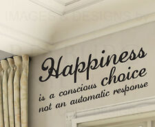Wall Decal Quote Vinyl Sticker Art Removable Happiness Choose to be Happy J46