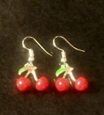Quirky Kitsch Red Enamel 3d Cherry Earrings Silver Plate