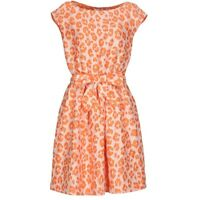 Moschino Women's Orange Leopard Midi Flared Party Formal Dress