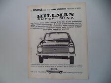 advertising Pubblicità 1962 HILLMAN SUPER MINX