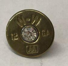 Winchester 12 Gauge AA Brass Shotgun Shell with Rhinestone Center Hat Lapel Pin