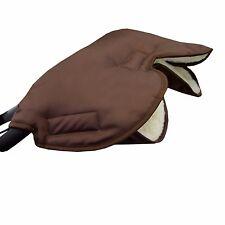 HANDMUFF manicotto mano guanti caldi per passeggino con LANA DI AGNELLO MARRONE