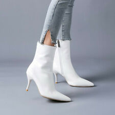 Plus Size Ladies Ankle Boots Patent Leather High Heels Pointed Toe Party Shoes