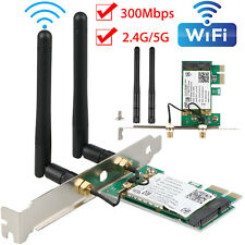 2 Antenna PCI-E 300Mbps 300M 802.11b/g/n Wireless WiFi Card Adapter Desktop PC