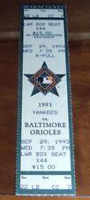 1993 Orioles Yankees Untorn FULL Season Ticket NM+ Don Mattingly HR # 209 of 222