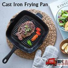 CAST IRON SQUARE GRILL FRYING PAN SKILLET BLACK HEAVY DUTY for BBQ W/ HANDLE