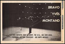 Bravo YVES MONTAND__Original 1982 Trade print AD promo / poster__World Tour