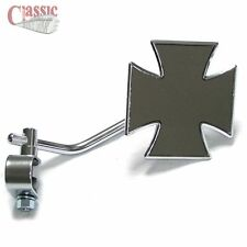 Maltese IRON CROSS Mirror Clamp On Harley Custom Chopper BobberTrike Cycle Haven