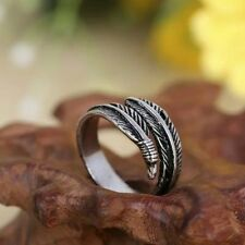 New Fashion Vintage Stainless Steel Unisex Feather Punk Biker Ring Jewelry Gift