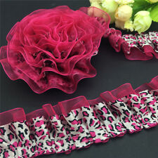 DIY 5 Yards 40mm 2-Layer Leopard Lace garment accessories Gathered Pleated Trim