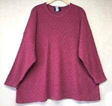 Eskandar 100% Cashmere Purple Serpent Cable Knit Boxy Sweater OS