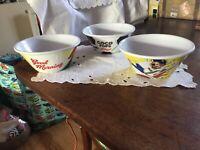 3 Kelloggs Plastic Cereal Bowls Coco Pops Cornflakes Kellogg's promotional Bowls
