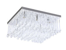 TP24 Piccadilly Knightsbridge 6x3W Led Chrome Carré Cristal Lumière Plafond