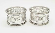 More details for 2x art deco silver plated pierced napkin rings c1920