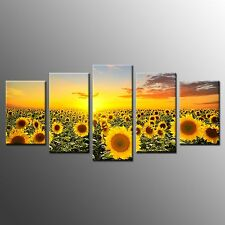 HD Photo To Canvas Wall Art Sunflower Print Picture for Home Decor-5pcs No Frame