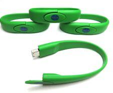 4 GB USB Flash Drive Wrist Band Bracelet Green 4 Pack