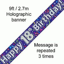 Happy 18th Birthday Streamers Holographic 9ft Banner