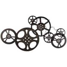 Antique Movie Reel Wall Bronze Metal Vintage Home Entertainment Room Decor New