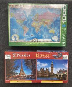 Eurographics Puzzle 1,000 Pieces & Keepsakes Eiffel Tower & Big Ben 500 P Each