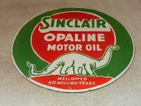 "VINTAGE NOS SINCLAIR OPALINE OIL DINO DINOSAUR 12"" PORCELAIN METAL GASOLINE SIGN"