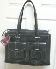 McKlein Alexis Women's Laptop Briefcase Black Leather Padded Laptop Sleeve  NWT