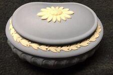 Wedgwood Jasperware - Blue Kidney Shape Pill Box - in Mint Condition