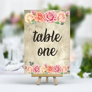 Vintage Style Wedding Table Numbers Pink Rose, Double Sided, Laminated