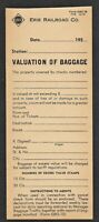 1950's Erie Railroad Valuation of Baggage Form - Mentions Excess Stamps