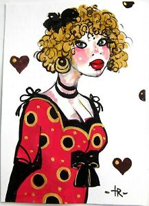 Original GOLD GOUACHE PORTRAIT GIRL design illustration wall art decor Tania