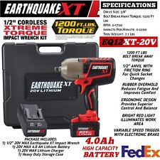 NEW Earthquake 20V Max Lithium 1/2 In. Cordless Xtreme Torque Impact Wrench Kit