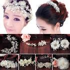 Party Wedding Crown Floral Hair Headdress Headband White Flowers Pearl Garland K