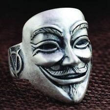 100% Solid 925 Silver Adjustable Mask Ring Biker Vendetta Skull Anonymous Goth