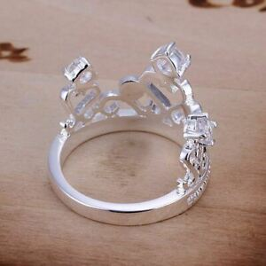 Silver Plated Size Q (UK) 8 (US) Crown With Crystals Princess Queen Band Ring