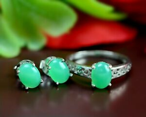 925 Sterling Silver Natural Green Chrysoprase Gemstone Ring Earring Jewelry Set