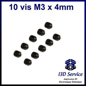 Lot de 10 vis sans tête M3 x 4mm en acier à bout plat - Six pans creux BTR