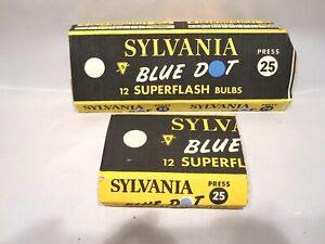 Lot of 18 Vintage Sylvania Press 25 Blue Dot Flash Bulbs