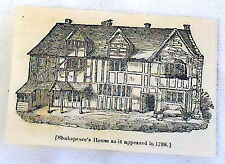 1832 magazine engraving ~ WILLIAM SHAKESPEARE'S HOUSE as it appeared in 1788