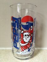 "Snowboarding Santa PEPSI Glass Cup Tumbler Drinking CHRISTMAS Perfect 5 3/4"""