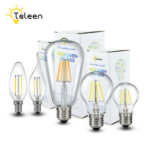 E27 E14 Tsleen Retro Edison Lamp Filament COB LED Bulb Vintage Candle Light 06B