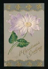 CHRISTMAS Greetings Flower NOVELTY embossed Applique Used 1908 PPC