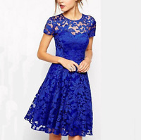 Women Fashion Short Sleeve Lace Cocktail Party Banquet Party Evening Dress S-5XL