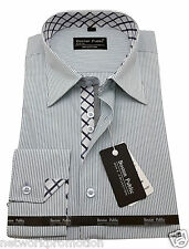 Men's 100% Cotton Shirt Striped Formal Casual Long sleeve Classic Spread collar