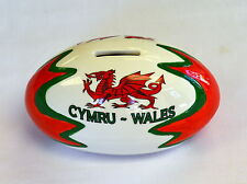 Welsh RUGBY BALL / DRAGON design MONEY BOX,  Wales, Cymru