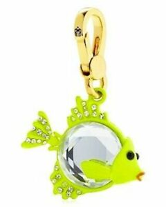 Juicy Couture Charm Crystal Gem Fish Gold Tone