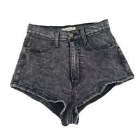 Vibrant M.I.U. Womens Jean Shorts Black Stretch Pockets Flat Front USA S