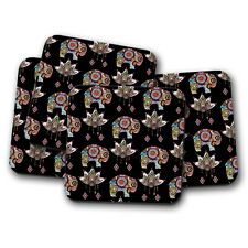 4 Set - Pretty Elephant Coaster - Lotus Flower Indian Mum Auntie Fun Gift #14789