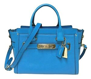 Coach 34816 Swagger 27 Small Satchel Pebble Leather Crossbody AZURE - NWT - $450